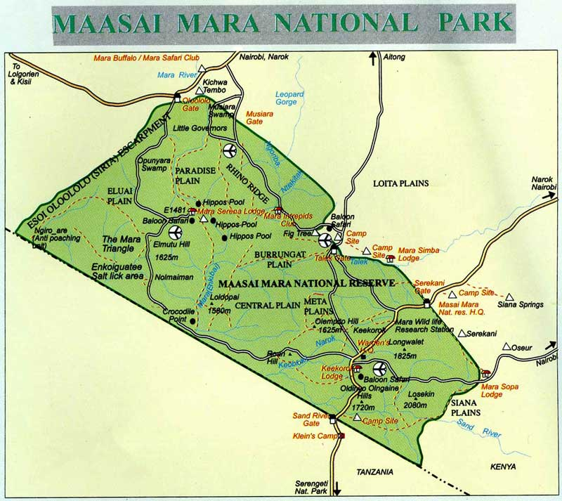 Cartina geografica del parco nazionale del Masai Mara, Kenya